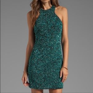 Parker | Mariah Sequin Racerback Dress Emerald